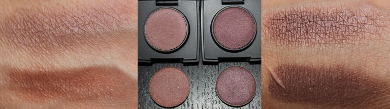 Top Row Left to Right: Glam Natural Eye Shadow Ultrasuede and Berry Bottom Row Left to Right: Makeup Geek Eye Shadow in Country Girl and Last Dance