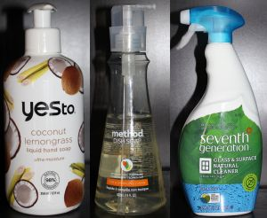 Left: Yes to Coconuts hand soap, Middle: Method dish washing liquid, Right: Seventh Generation all-purpose cleaner