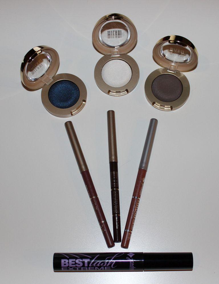 Milani Eye Shadows, Milani and Jordana Lip Liners, Jordana Mascara