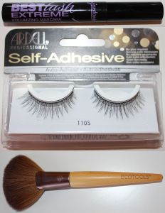 Top: Jordana mascara, Middle: Ardell lashes, Bottom: EcoTools fan brush