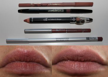 Top to Bottom: Too Faced  perfect lips in perfect nude, Trish McEvoy lip liner in deep nude, ELF lip definer & shaper in nude, Jordana easy liner for lips in rose blush, Ben Nye lip color pencil in berry brown