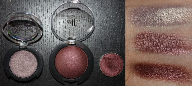Left to Right/Top to Bottom: Sigma Notre Dame, ELF Studio Baked Eye Shadow Burndt Plum, Makeup Geek Foiled Eye Shadow Show Time
