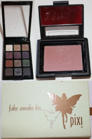 Clockwise: Sonia Kashuk eye shadow palette, ELF studio blush, Pixi palette