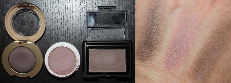 Left to Right/Top to Bottom: Milani Bella Taupe Eye Shadow, Colour Pop Eye Shadow in Bill, ELF Studio Eye Shadow in Pebble