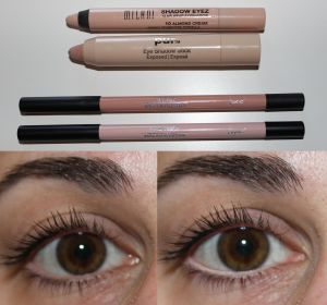 Top to Bottom: Milani shadow eyez in almond cream, Pur Minerals eye shadow stick in exposed, Sigma inner rim brighteners in polished & final touch