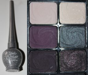 Left- Sleek Makeup Glitter Dip It Eyeliner in Ice Right- Wet n' Wild 6-pan Palette in Lust