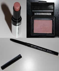 Upper Left- Wet n' Wild Fergie Daily Upper Right- ELF Studio blush in Mellow Mauve Bottom- Milani Liquid-like Eyeliner pencil in Black
