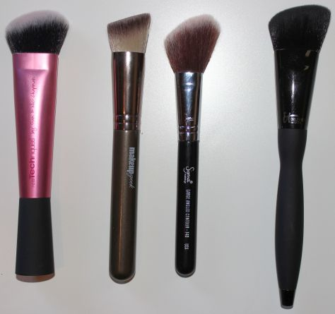 Left to Right: Real Techniques Sculpting Brush, Makeup Geek Angled Blush Brush, Sigma Sigmax F??, It Cosmetics for Ulta Velvet