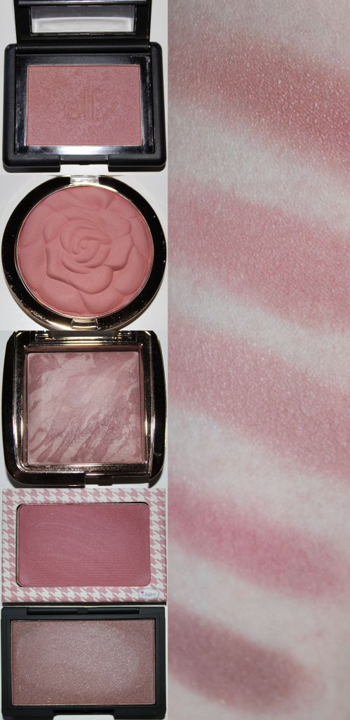 Top to Bottom: ELF Studio Blush in Mellow Mauve (heavy swatch), Milani Rose Powder in Romantic Rose, Hourglass Ambient Lighting Blush in Mood Exposure, The Balm Instain blush in Houndstooth (sheered swatch), Sleek Makeup Blush in Antique