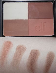 ELF Studio Bronzer in Cool Bronzer Swatches Left to Right: Bottom Right Quadrant (the most likely blush candidate for me), Bottom Left Quadrant, Upper Right Auqdrant, All four shades swooshed together