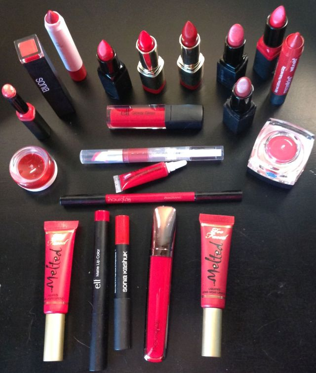 Sharon's red lip stash