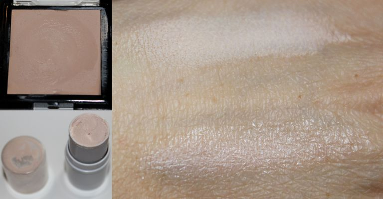 Top: Ben Nye Media PRO creme highlight in Ultra Light Bottom: ELF All Over Color Stick in Spotlight