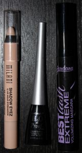 Left to Right: Milani Shadow Eyez in Almond Cream, Wet n' Wild H2O Proof Liquid Liner in Ultra Black, Jordana BestLash Extreme Volumizing Mascara