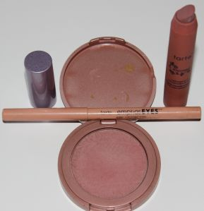 Tarte 12-hour Amazonian Clay Blush in Exposed, Emphasyes Inner Rim Brightener, LipSurgence Matte Lip Tint in Exposed