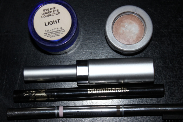 Top to Bottom: It Cosmetics Bye Bye Under Eye Corrector in Light, Pur Minerals Disappearing Act concealer, Pur Minerals Eye Prep, Pur Minerals Outer Space Precision Eyeliner, Pur Minerals Wake Up Brow