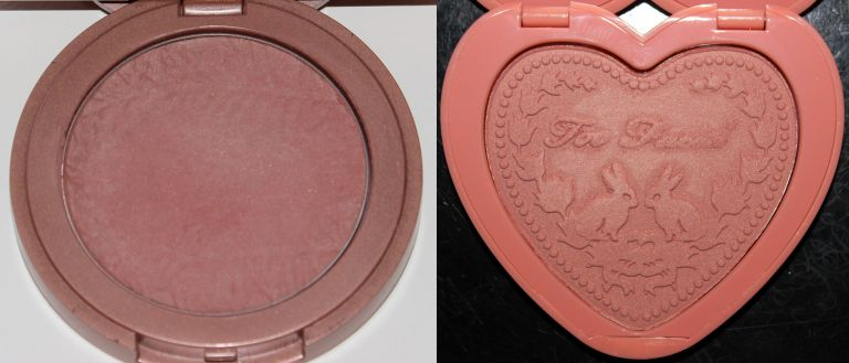 Left: Tarte Amazonian Clay 12-Hour Blush in Exposed. Right: Too Faced Love Flush Long-Lasting Blush in Baby Love