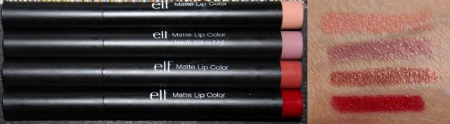 ELF Studio Matte Lip Colors Top to Bottom: Nearly Nude, Tea Rose, Praline, Rich Red