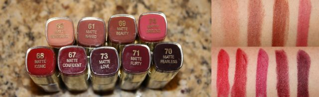 Milani Color Statement Moisture Matte Lipsticks Top Row Left to Right: Matte Innocence, Matte Naked, Matte Beauty, Matte Darling Bottom Row Left to Right: Matte Iconic, Matte Confident, Matte Love, Matte Flirty, Matte Fearless