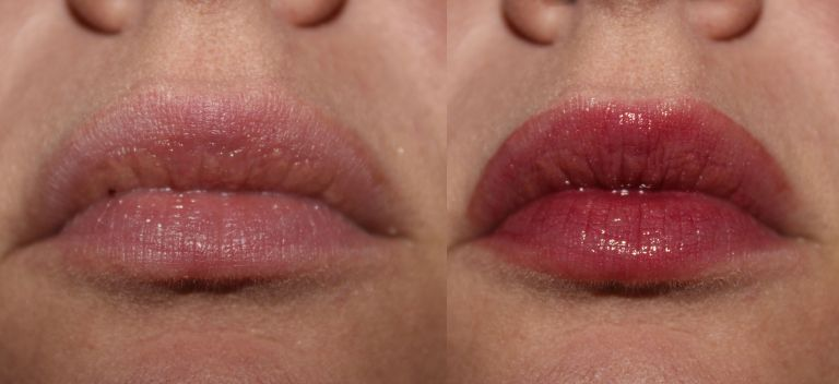 Left: bare lips, Right: Lauren Brooke Colourfusion Lip Glaze in Candied Plum