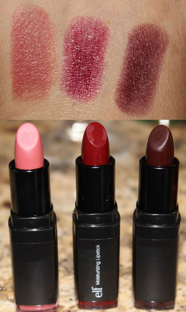 ELF Studio Moisturizing Lipsticks L to R: Marsala Blush, Bordeaux Beauty, Black Berry