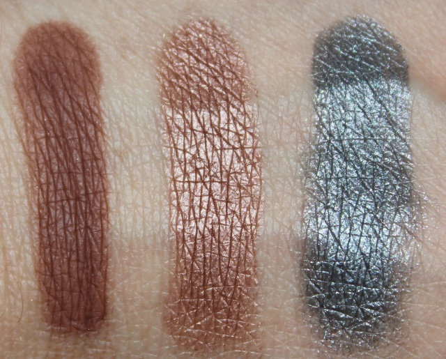 Makeup Geek swatches Cabin Fever, Lucky Penny, Sorcery