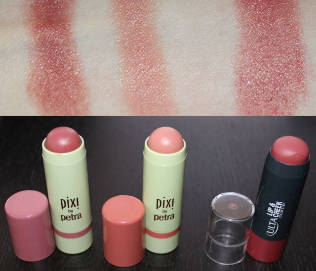 Pixi Multibalms in Wild Rose Baby Petal; Ulta Lip + Cheek Color Stick in Mauves