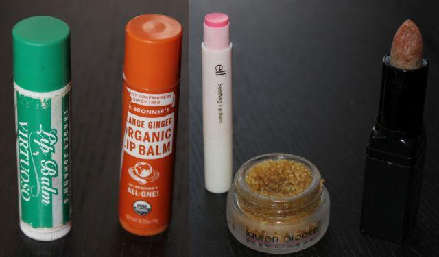 Trader Joes Virtuoso lip balm, Dr. Bronner's organic lip balm, ELF Soothing Lip balm, Lauren Brooke organic sweet chai lip scrub, ELF lip exfoliant